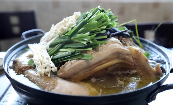 강원도 홍천의 토종닭 농장 '달구와 낭구'에서 키운 닭으로 백숙을 끓였다. 껍질은 고소하고 가슴살은 씹을 수록 고기 맛이 고였다. 정강이 길이가 한 뼘 가까이 된다. 신인섭 기자