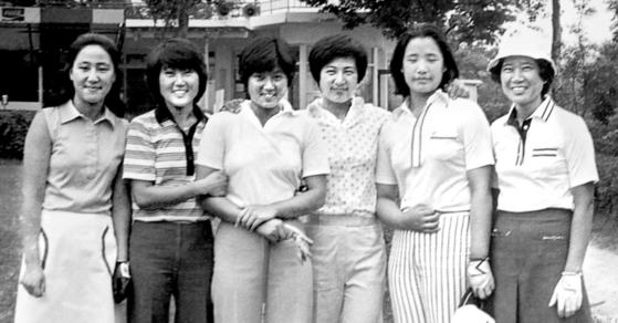 한국여자프로골프협회(KLPGA) 1, 2기 프로들. 왼쪽부터 안종현·한명현·강춘자·구옥희·배성순·김성희. [중앙포토]