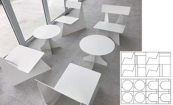 팀 바이럴스가 브랜딩 및 디자인을 맡은 부산 송정 카페 '뉴벨'에서 만날 수 있는 '포 브라더스 체어'.