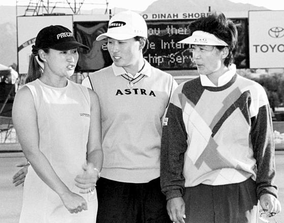 1999년 3월 LPGA 나비스코 다이너 쇼 대회에 함께 출전한 펄 신·박세리·구옥희. [중앙포토]