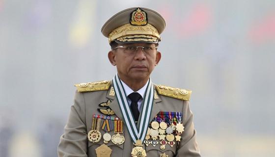쿠데타를 일으켜 정권을 잡은 민 아웅 흘라잉 미얀마군 총사령관이 지난달 27일 미얀마 네피도에서 국군의날 행사에 참여했다. 〈사진=AP 연합뉴스〉