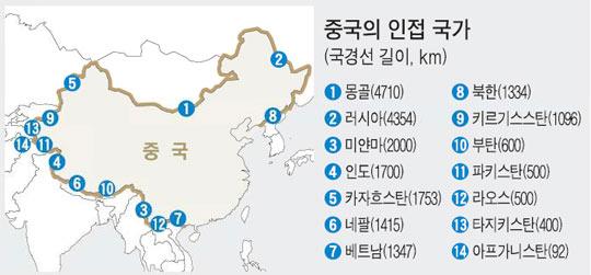 800자로 본 중국 ⑤ 이웃국가 세계 최다 - 중앙일보