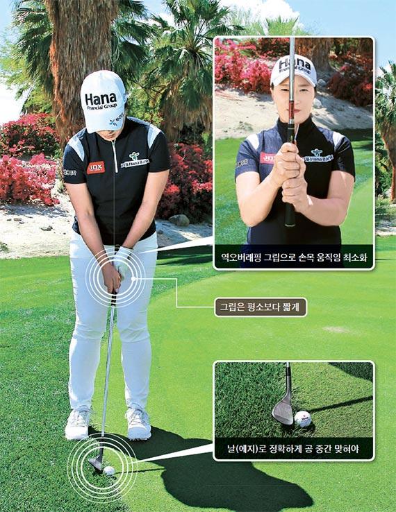 [골프여왕 박세리 챔피언 레슨] 풀·그린 경계에 걸친 공, 웨지 날로 굴리는 게 좋아