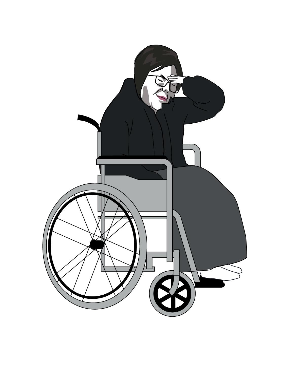 휠체어를 탄 최순실씨. [서예리 인턴]