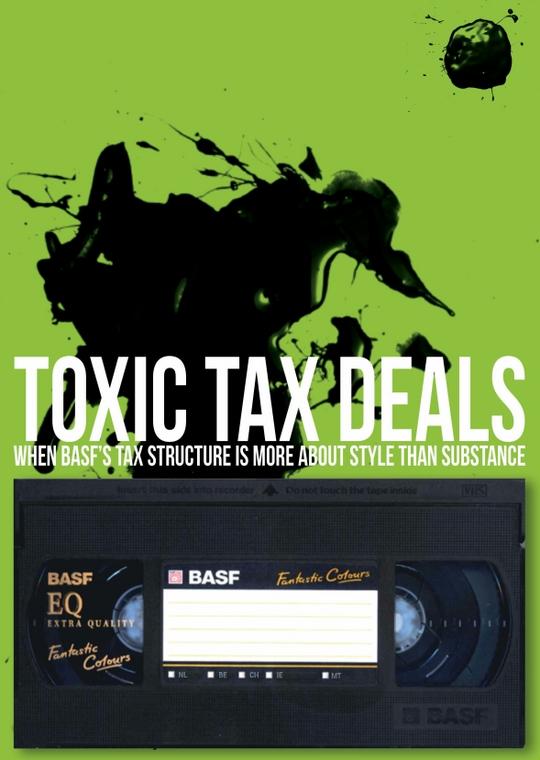 바스프(BASF)의 대규모 절세 전략을 분석한 유럽 녹색당의 `독소같은 세금 거래` 보고서 표지. [사진 유럽 녹색당]