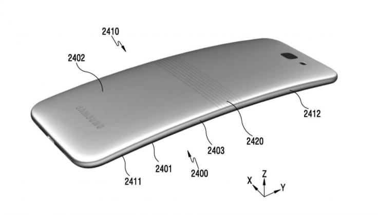 삼성전자의 접는 스마트폰 도면. 이처럼 부드럽게 휘어진다.  [사진 특허청]