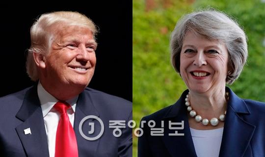 도널드 트럼프(왼쪽) 미국 대통령 당선인과 테레사 메이(왼쪽) 영국 총리 [중앙포토]