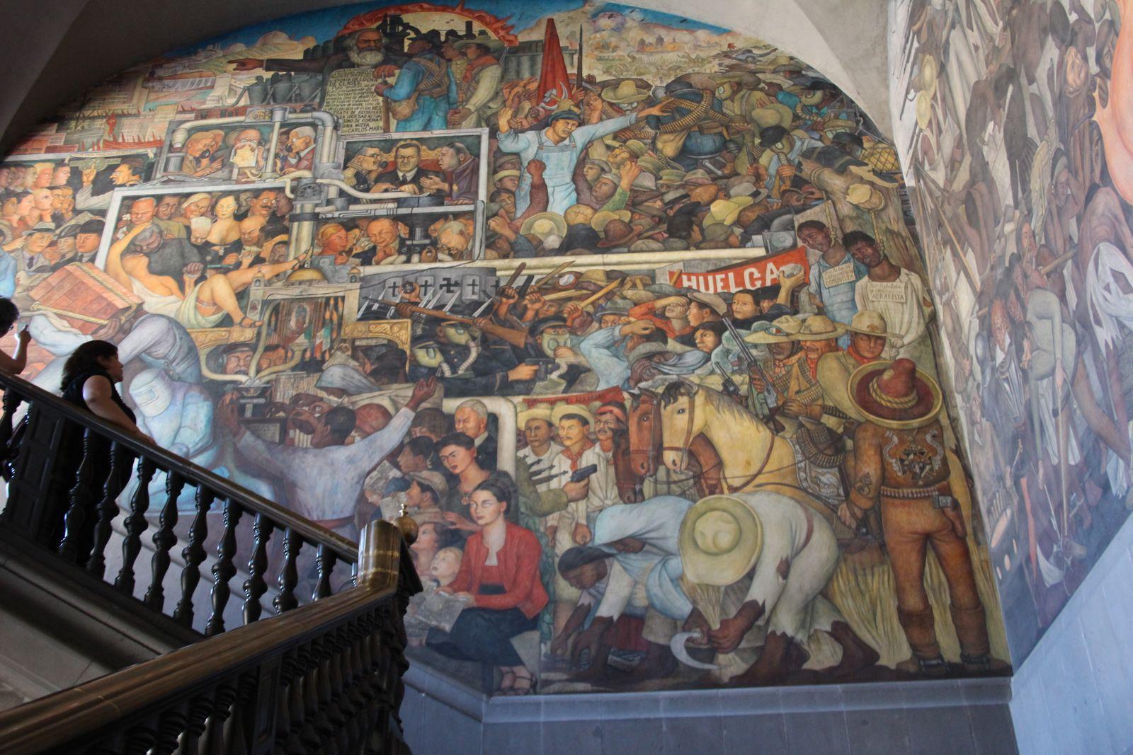 국립궁전 디에고 리베라의 벽화- 멕시코의 역사.