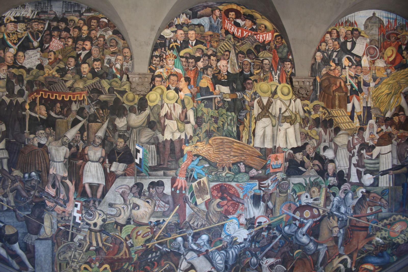 국립궁전 디에고리베라의 벽화-멕시코의 역사 중앙부.