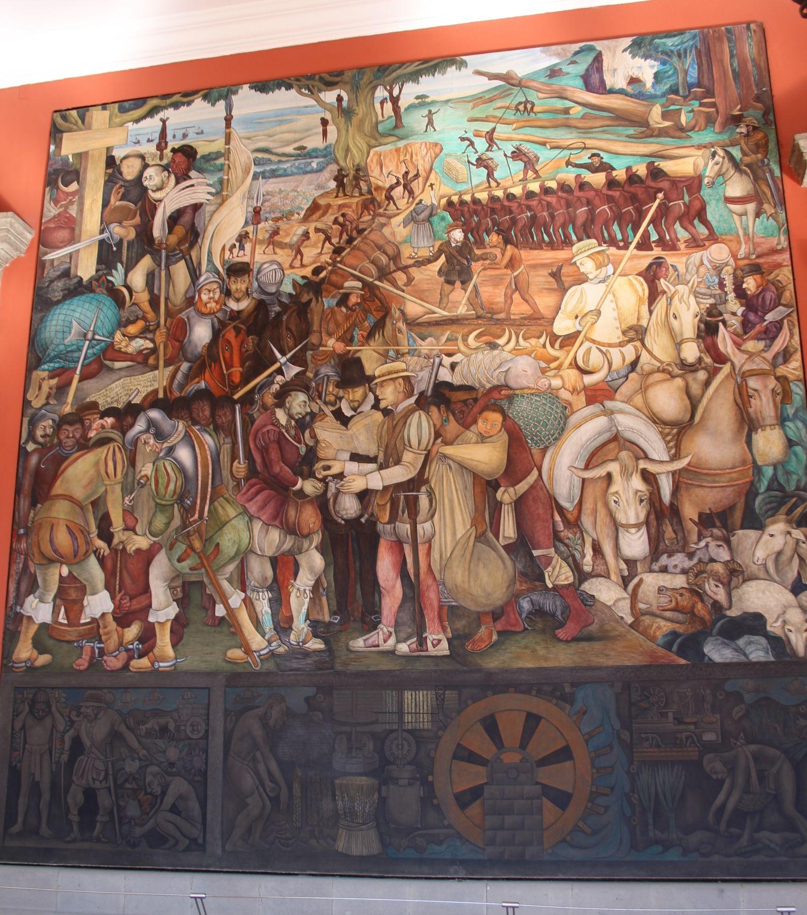 국립궁전 벽화-에르난 코르테스와의 만남.