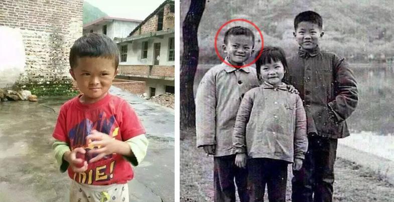 어릴 적 마윈 회장을 닮아 화제가 된 판샤오친(왼쪽). 어린 시절 마윈 회장의 모습(오른쪽). [사진 웨이보]