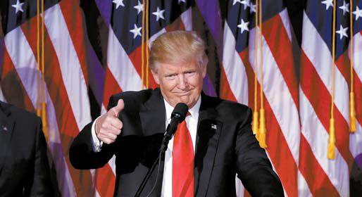 9일(현지시간) 미국 대통령 선거에서 승리한 도널드 트럼프가 미국 뉴욕의 힐튼 호텔에서 수락 연설을 하고 있다. [AP=뉴시스]