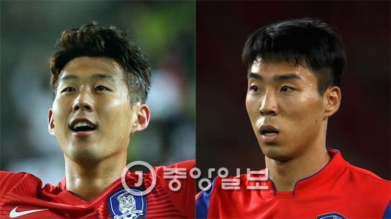 손흥민(24·토트넘·왼쪽)과 이정협(25·울산 현대) [중앙포토]