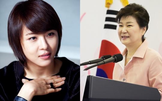 드라마 시크릿가든에서 여주인공 길라임을 연기했던 배우 하지원(왼쪽)과 박근혜 대통령. [중앙포토, 사진 청와대]