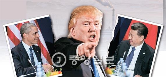 지난해 11월 파리협정 논의를 위해 만난 오바마 대통령( 왼쪽) 과 시진핑 국가주 석(오른쪽). 하지만 탈퇴를 공언한 트럼프가 당선돼 협정이 위기를 맞고 있다. [중앙포토]