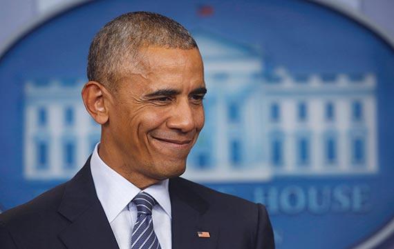 14일 백악관에서 대선 이후 첫 기자회견을 하는 버락 오바마 미국 대통령. [워싱턴 AP=뉴시스]