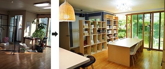 서울시 '빈집살리기 프로젝트' 덕분에 리모델링비 일부를 지원받아 공용주택으로 바뀐 은평구의 한 주택 거실(오른쪽). 왼쪽은 공사 전 모습. [사진 서울시]