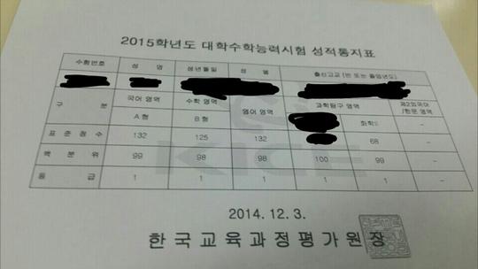 지난 16일 한 네티즌이 입시사이트 오르비에 자신의 수능 성적표를 올리며 수능 후기를 적어 화제다. [사진 오르비 캡쳐]