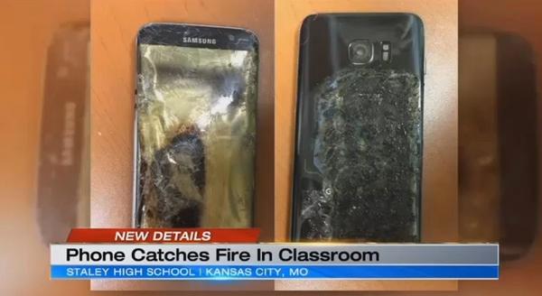 미국 캔자스시티의 한 고등학교에서 수업 중 발화한 삼성전자 스마트폰 갤럭시S7엣지. [사진=KCTV5 뉴스]