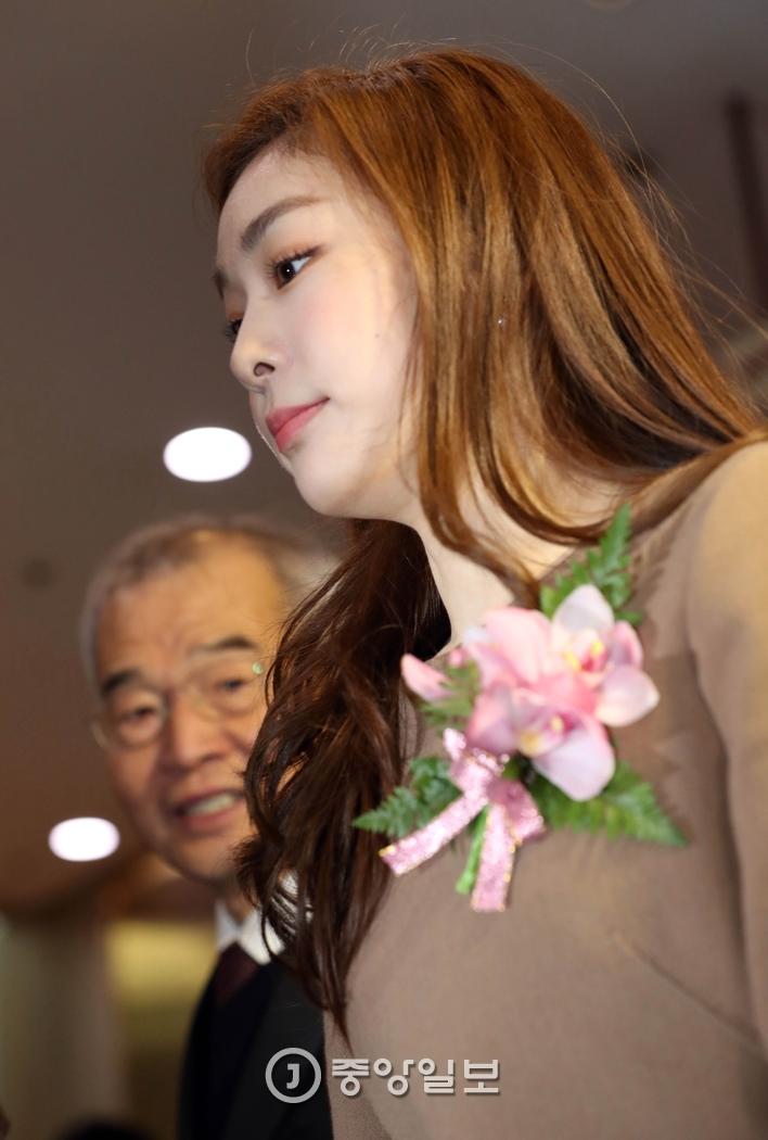 김연아 전 선수가 헌액식장으로 들어가고 있다. 김진경 기자