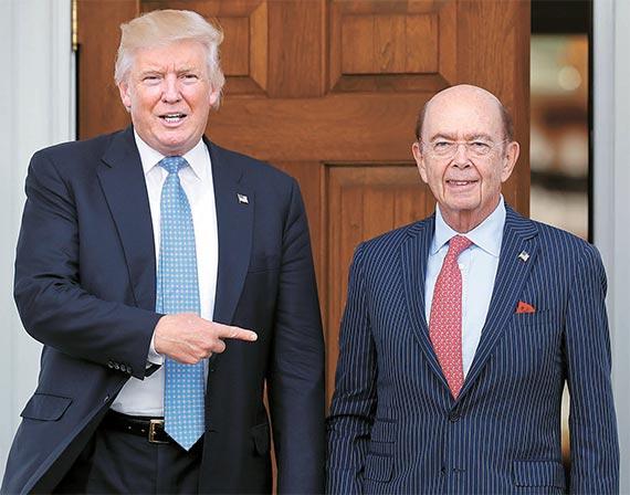 지난 20일 도널드 트럼프 대통령 당선인(왼쪽)과 각료 인선 면접을 한 윌버 로스 회장. [AP=뉴시스]