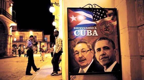 버락 오바마 미국 대통령의 쿠바 방문을 알리는 포스터. [중앙포토]