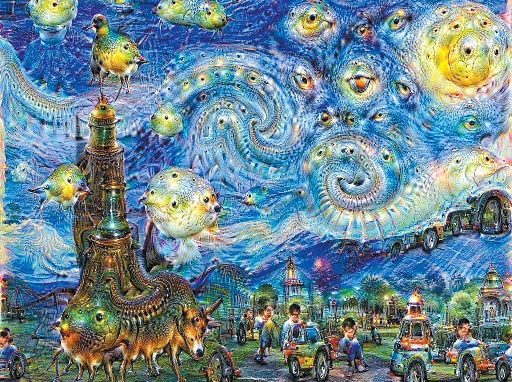 빈센트 반 고흐의 '별이 빛나는 밤'(오른쪽 위)에서 영감을 얻어 구글 인공지능(AI)이 그린 그림(아래).