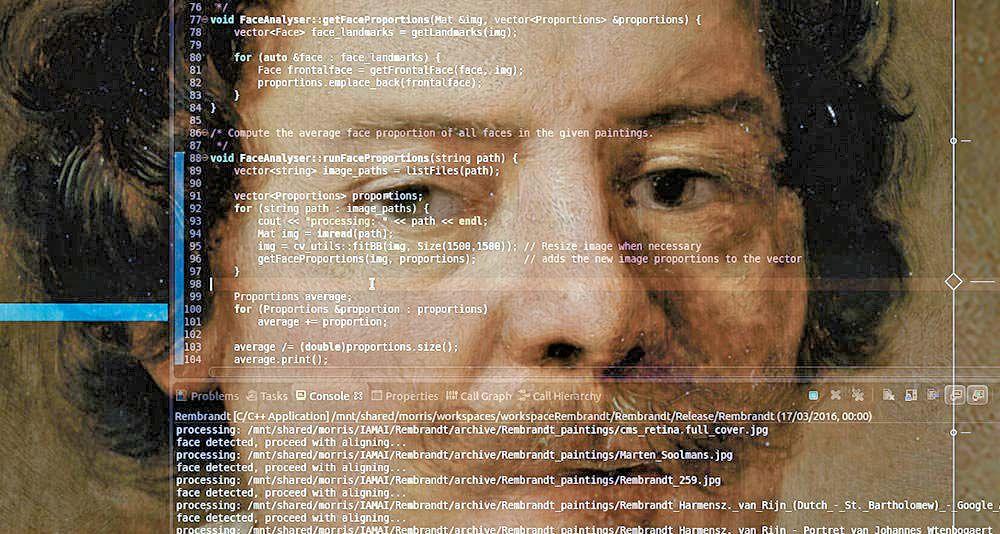 렘브란트풍 그림과 프로그램 코드를 오버랩시킨 사진.