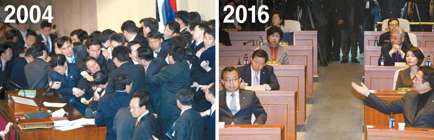 2004년 3월 노무현 대통령에 대한 탄핵안은 전체 의원 271명 중 193명의 찬성으로 가결됐다.(왼쪽) 25일 열린 새누리당 의원총회는 탄핵에 반대하는 친박계의 집단 불참으로 50여 명이 참석한 가운데 열렸다. [중앙포토ㆍ뉴시스]