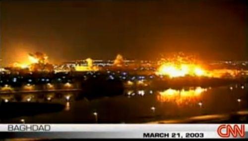 방송에 중계된 바그다드 시내 전경, 미군공습을 시내 곳곳에서 폭발이 일어나고 있다. [사진 CNN 캡처]