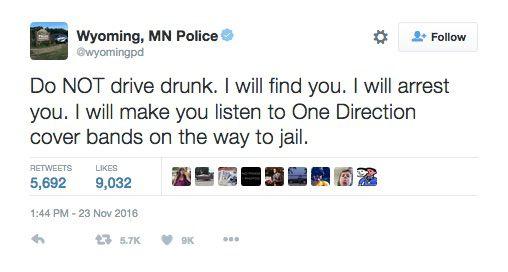 음주 운전자에겐 `원디렉션` 음악을 들려주겠다는 내용의 트윗.  [사진 트위터 캡처]