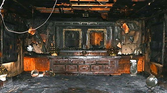 1일 오후 3시15분쯤 경북 구미시 상모동 박정희 전 대통령 생가에서 불이 나 추모관을 모두 태웠다. [프리랜서 공정식]