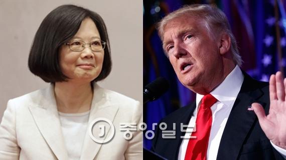 차이잉원 대만 총통(왼쪽)과 도널드 트럼프 미국 대통령 당선인. [중앙포토]