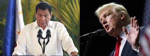 로드리고 두테르테(왼쪽) 필리핀 대통령과 도널드 트럼프 미국 대통령 당선인.