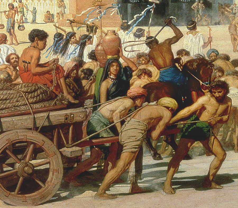 에드워드 존 포인터의 작품. 이집트에서 노예 생활을 하고 있는 유대인들을 그렸다.