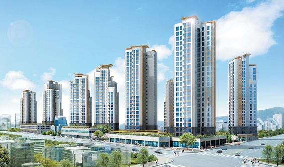 서울 구의동에 들어서는 구의 파라곤 주상복합아파트(조감도)는 전용면적 84㎡ 이하의 중소형으로 구성된다.