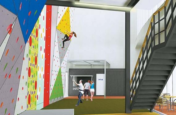 내년 1월 입주를 앞둔 서울 강동구 고덕시영 래미안힐스테이트의 커뮤니티 시설 중에는 암벽등반대회까지 치를 수 있는 높이 13m, 폭 35m의 대규모 인공암벽이 설치된다. [사진 래미안힐스테이트]