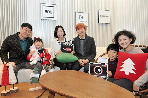 왼쪽부터 키즈 동영상 채널 '라임튜브'를 만드는 아버지 길기홍씨와 '라임이' 길라임양, '말이야와 친구들'을 조카들과 함께 만드는 이혜강·국동원 부부, '마이린TV'의 '마이린' 최린군과 어머니 이주영씨. [사진 유튜브]