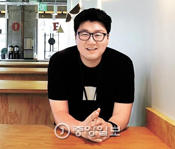 미국 샌프란시스코 마켓거리에 있는 우버 본사에서 만난 한국인 엔지니어 강태훈. 우버 사무실은 사진 촬영이 금지되어 있어서 우버 임직원이 무료로 이용하는 구내 식당에서 촬영했다. [사진 최영진 기자]
