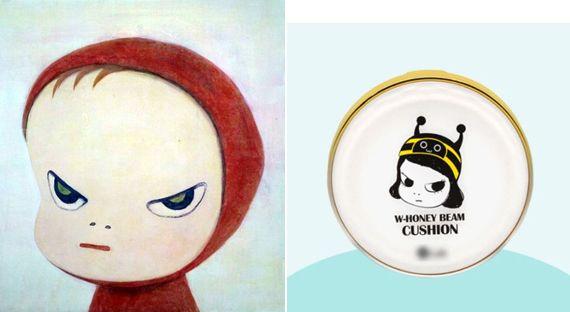 일본 팝아트 작가 요시모토 그림(왼쪽)과 한국 화장품 제품에 그려진 그림.