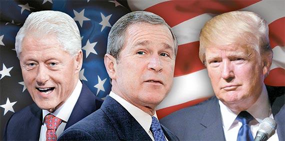 왼쪽부터 빌 클린턴, 조지 W 부시, 도널드 트럼프.