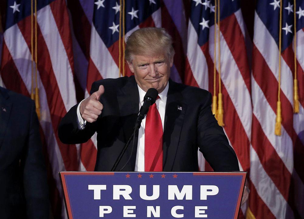 """11월9일 트럼프는 11월9일 대선 승리 연설에서 """"이제 함께 하나의 국민이 되자. 모든 미국인을 위한 대통령이 되겠다""""고 다짐했다.[AP=뉴시스]"""