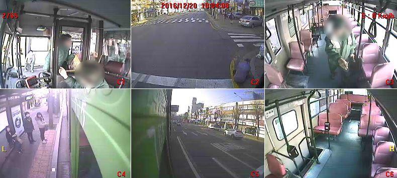 20일 오전 서울 은평구 응암동 지나던 버스에 박모(56)씨가 올라 행패 부리는 모습. [사진 서울 서부경찰서 제공]