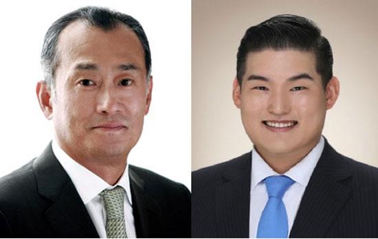 동국제강 장세주 회장(왼쪽)과 장선익 이사[중앙포토]