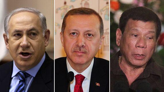 베냐민 네타냐후(이스라엘 총리)·에르도안(터키 대통령)·두테르테(필리핀 대통령).