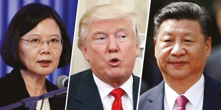 도널드 트럼프 미국 대통령 당선인이 12월 2일 대만 차이잉원 총통과 전화통화를 한 데 대해 중국 정부가 강하게 반발했다. 사진 왼쪽부터 차이잉원 대만 총통, 트럼프 당선인, 시진핑 중국 국가주석. [뉴시스]