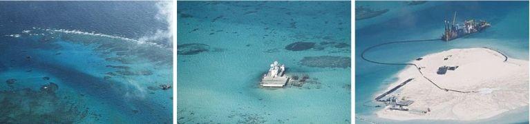 남중국해 난사군도의 존슨 산호초(사진 왼쪽, 중국명 츠과자오)에 중국이 세운 인공 구조물(가운데)이 1년여 만에 모래섬으로 변했다. [중앙포토]