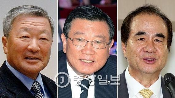 구본무(LG 회장)·박삼구(금호아시아나 회장)·윤석금(웅진그룹 회장).(왼쪽부터)