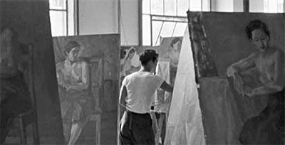 1950년대 동숭동 캠퍼스 시절 서울대학교 미술대학 유화수업 풍경. [서울대학교 미술관]