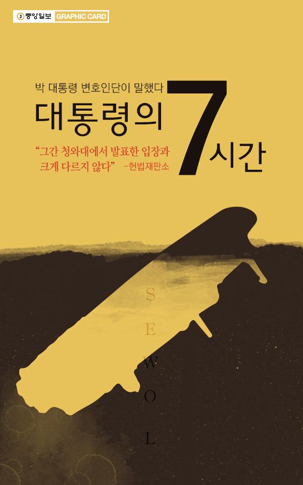 """박 대통령 변호인단이 말했다…대통령의 7시간 """"그간 청와대에서 발표한 입장과 크게 다르지 않다"""" -헌법재판소"""
